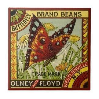 Vintage Vegetable Label Art, Butterfly Brand Beans Ceramic Tile