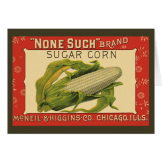 Vintage Vegetable Label Art, None Such Sugar Corn Card