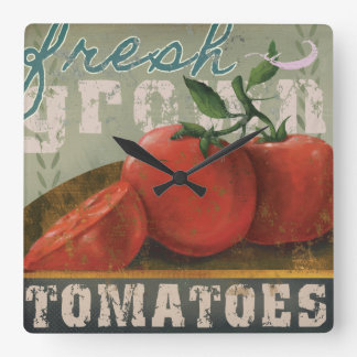 "Vintage Vegetable label Clock ""Fresh Tomatoes"""