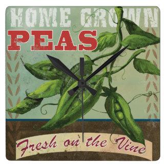 """Vintage Vegetable label Clock """"Home Grown Peas"""""""