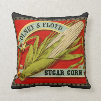 Vintage Vegetable Label, Olney & Floyd Sugar Corn Cushion