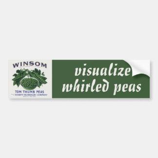 Vintage Vegetable Label Visualize World Peace Peas Bumper Sticker