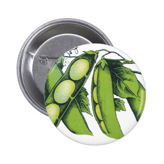 Vintage Vegetables; Lima Beans, Organic Farm Foods 6 Cm Round Badge