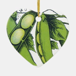 Vintage Vegetables; Lima Beans, Organic Farm Foods Ceramic Heart Decoration
