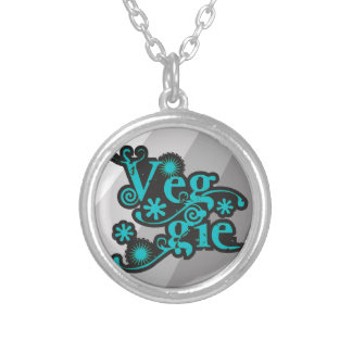 Vintage Veggie, For Vegetarians and Vegans Silver Plated Necklace