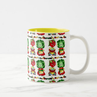 Vintage Veggie People Two-Tone Coffee Mug