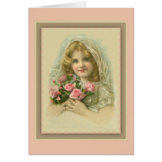 Vintage Veiled Girl with roses & rosary Card