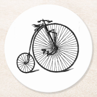 Vintage Velocipede Bicycle Bike Round Paper Coaster
