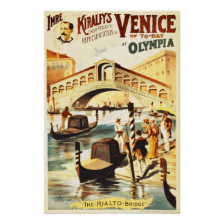 Vintage Venice of to-day, Rialto bridge Poster