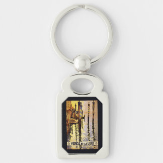 "Vintage ""Venise et le Lido"" Italy key chain Silver-Colored Rectangle Key Ring"