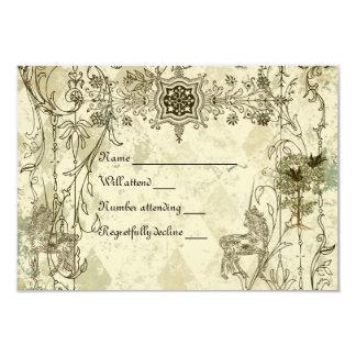 Vintage Verdigris Unicorn rsvp with envelopes 9 Cm X 13 Cm Invitation Card