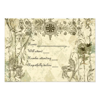 Vintage Verdigris Unicorn rsvp with envelopes Custom Invite