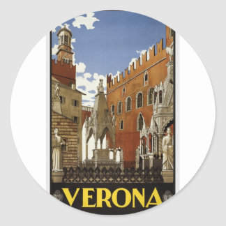 Vintage Verona Travel Classic Round Sticker