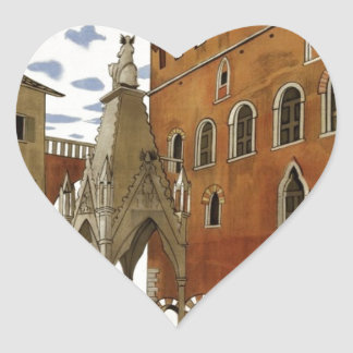 Vintage Verona Travel Heart Sticker
