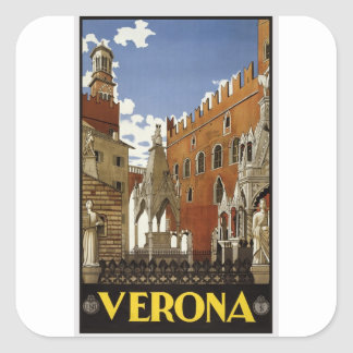 Vintage Verona Travel Square Sticker