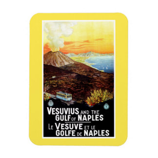 Vintage Vesuvius Gulf of Naples Italian travel Magnet