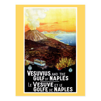 Vintage Vesuvius Gulf of Naples Italian travel Postcard