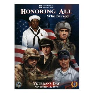 Vintage Veterans day, 1996 - Postcard