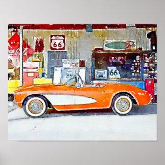 Vintage Vette Route 66 Car Poster