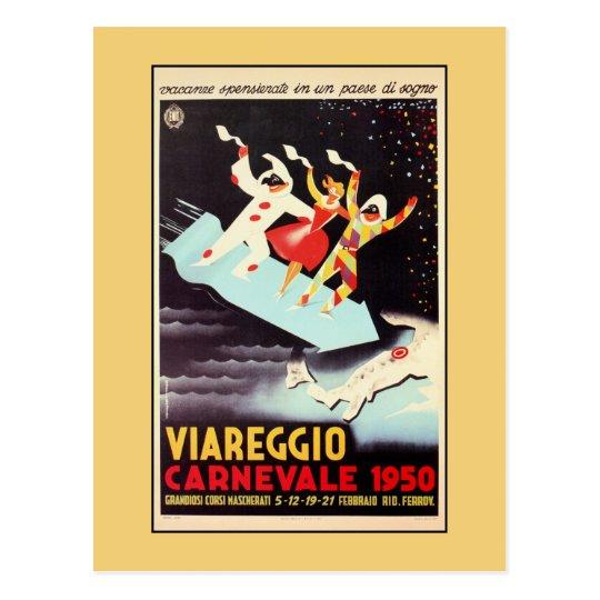 Vintage Viareggio carnival Italian travel ad Postcard