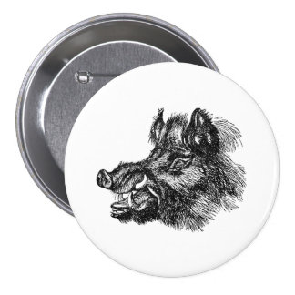 Vintage Vicious Wild Boar w Tusks Template 7.5 Cm Round Badge