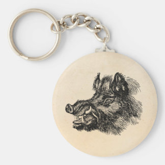 Vintage Vicious Wild Boar w Tusks Template Basic Round Button Key Ring