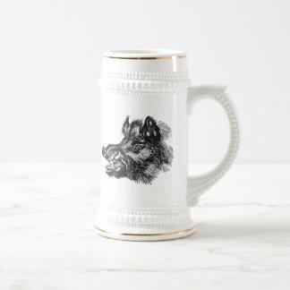 Vintage Vicious Wild Boar w Tusks Template Beer Stein