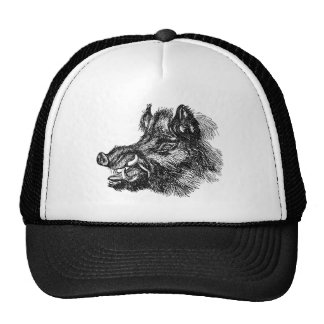 Vintage Vicious Wild Boar w Tusks Template Cap