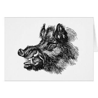Vintage Vicious Wild Boar w Tusks Template Note Card