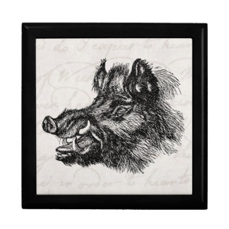 Vintage Vicious Wild Boar w Tusks Template Large Square Gift Box