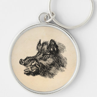 Vintage Vicious Wild Boar w Tusks Template Silver-Colored Round Key Ring