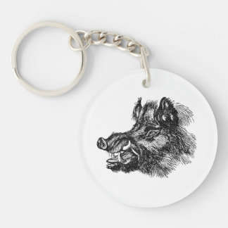 Vintage Vicious Wild Boar w Tusks Template Single-Sided Round Acrylic Key Ring