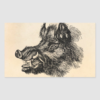 Vintage Vicious Wild Boar w Tusks Template Rectangular Sticker