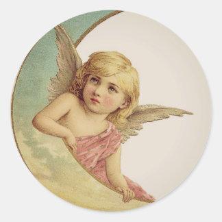 Vintage Victorian Angel Moon Girl Round Sticker