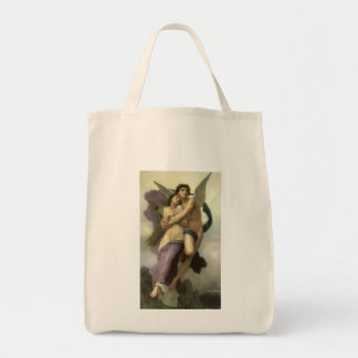 Vintage Victorian Angel, Ravishment by Bouguereau Grocery Tote Bag