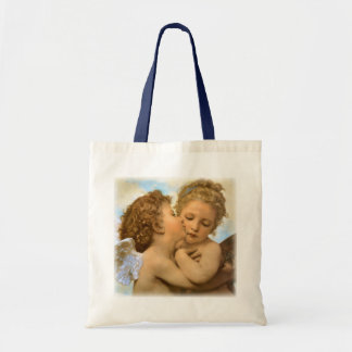 Vintage Victorian Angels, First Kiss by Bouguereau Budget Tote Bag