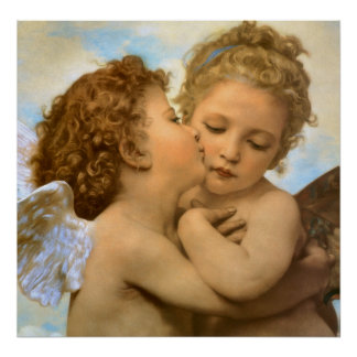 Vintage Victorian Angels, First Kiss by Bouguereau Poster