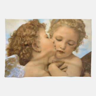 Vintage Victorian Angels, First Kiss by Bouguereau Kitchen Towels