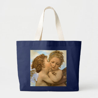 Vintage Victorian Angels, First Kiss by Bouguereau Jumbo Tote Bag