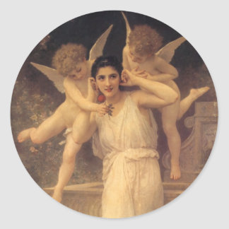 Vintage Victorian Angels, Youth by Bouguereau Classic Round Sticker