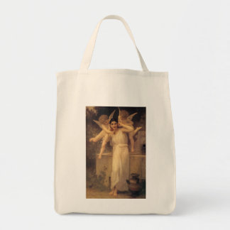 Vintage Victorian Angels, Youth by Bouguereau Grocery Tote Bag