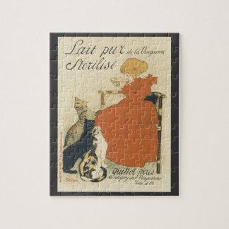 Vintage Victorian Art Nouveau, Girl with Milk Cats Jigsaw Puzzle
