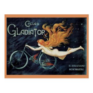 Vintage Victorian Art Nouveau, Gladiator Cycles Postcard