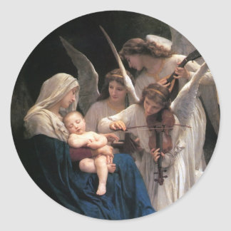 Vintage Victorian Art, Song of Angels, Bouguereau Classic Round Sticker