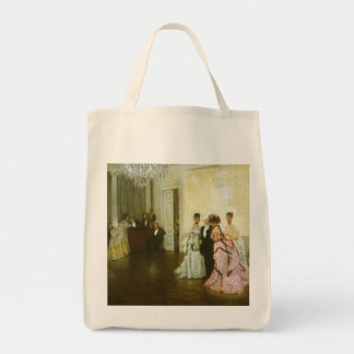 Vintage Victorian Art, Too Early by James Tissot Grocery Tote Bag