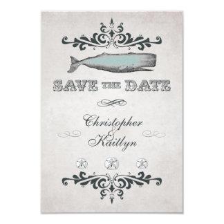 Vintage Victorian Beach Whale Save the Date Notice 9 Cm X 13 Cm Invitation Card