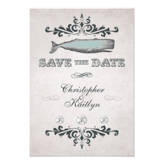 Vintage Victorian Beach Whale Save the Date Notice Personalized Announcement