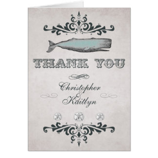 Vintage Victorian Beach Whale Wedding Thank You Card