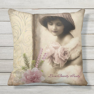Vintage Victorian Beautiful Girl Child Photograph Outdoor Cushion