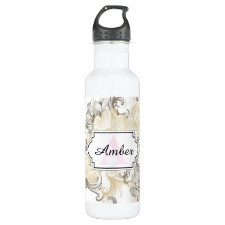 Vintage Victorian Beige floral vines pattern 710 Ml Water Bottle
